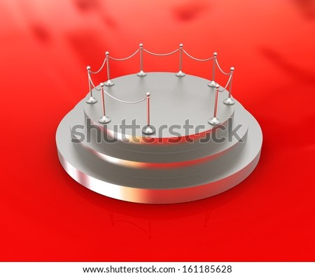 3D podium on red background  - stock photo