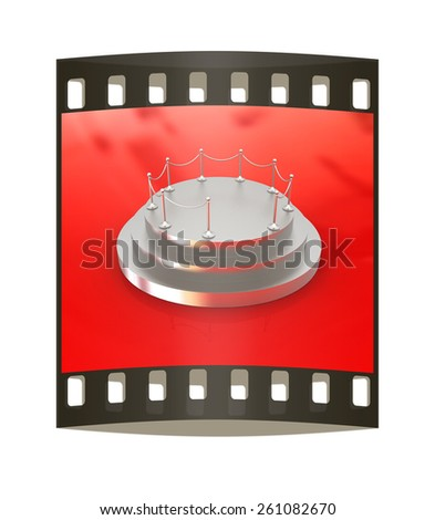 3D podium on red background. The film strip - stock photo