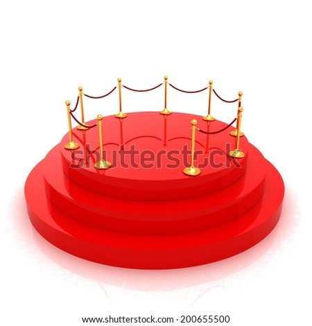 3D podium with gold handrail  - stock photo