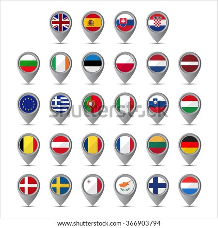 3D pointer with the flags of European Union isolated on white background - stock photo