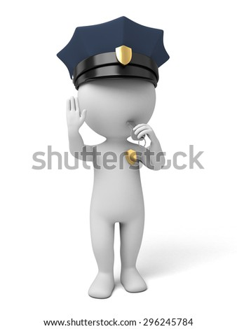 3d policeman making stop sign. 3d image. Isolated white background. - stock photo