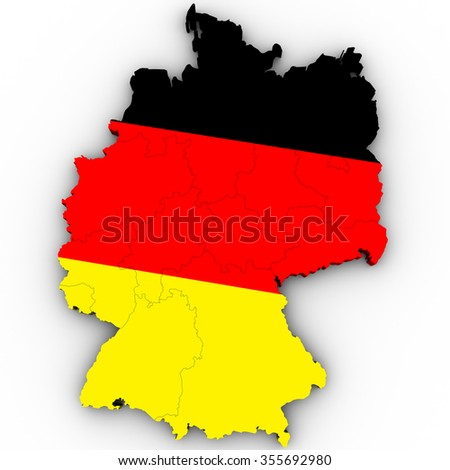 3d Political Map Rendering of Germany