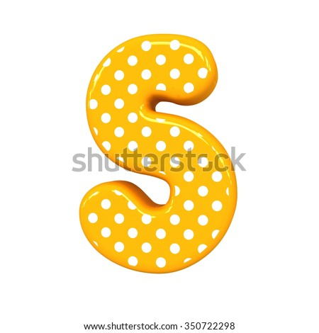 3d polka dots letter S orange funny cute birthday party alphabet isolated white background - stock photo