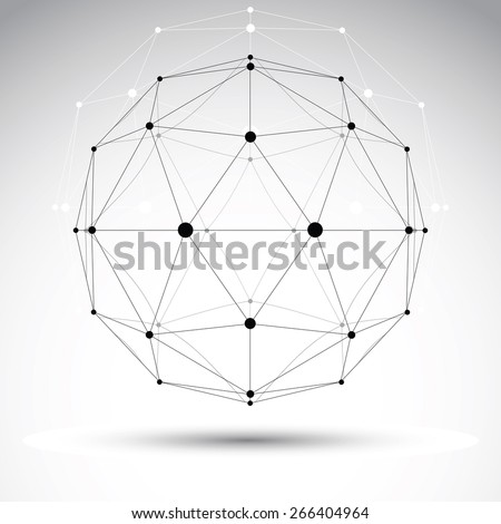 3D polygonal geometric wireframe object, abstract design element - stock photo
