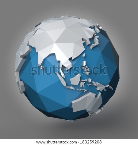 3d polygonal style illustration of earth planet, Asia view - stock photo