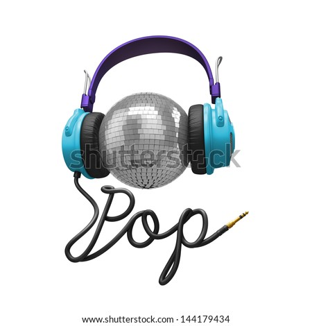 3d pop music concept isolated on white; headphones, disco ball and cord typographic design - stock photo