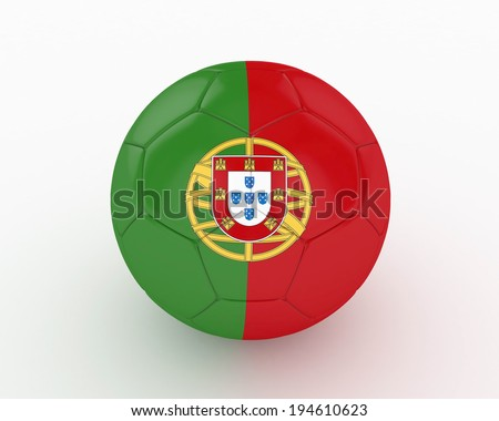 3d Portugal Soccer Ball - isolated