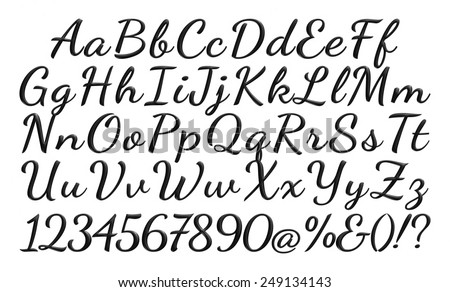 3D Poster Bold Classic Style Font Black Condensed Letters Alphabet Standard For Advertising