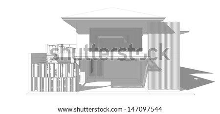 3D Preliminary concept for sketch - stock photo