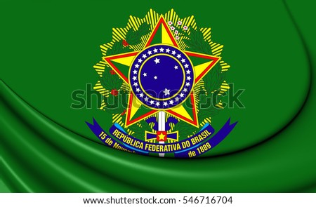 3D Presidential Standard of Brazil. 3D Illustration.
