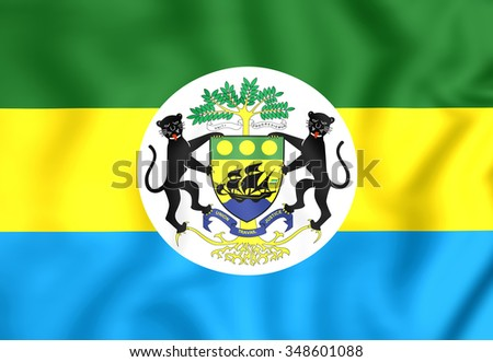 3D Presidential Standard of Gabon. Close Up. - stock photo