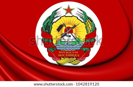 3D Presidential Standard of Mozambique. 3D Illustration.