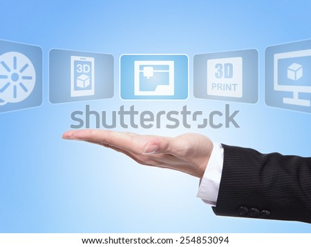 3D print concept , business man hand palm holding all kinds of icon about 3D print with blue background - stock photo