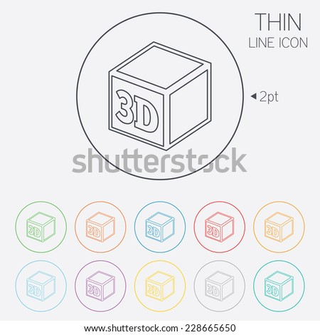 3D Print sign icon. 3d cube Printing symbol. Additive manufacturing. Thin line circle web icons with outline.