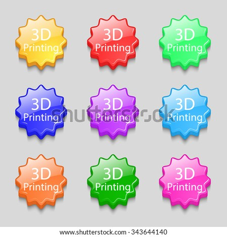 3D Print sign icon. 3d-Printing symbol. Symbols on nine wavy colourful buttons. illustration