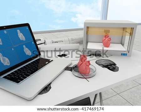3d printed heart. 3d rendering. - stock photo