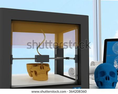 3d printed skull - stock photo