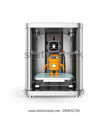 3D printer and toy yellow robot inside. Clipping path available. - stock photo