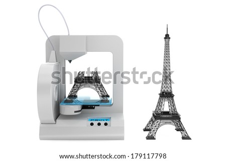 3d printer build Eiffel Tower Model on a white background - stock photo