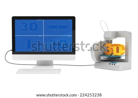 3d printer connected to desktop computer on a white background - stock photo