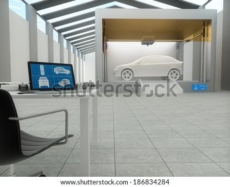 3d printer in factory, printing car - stock photo