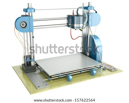 3D printer isolated on a white background. 3D rendered illustration. - stock photo