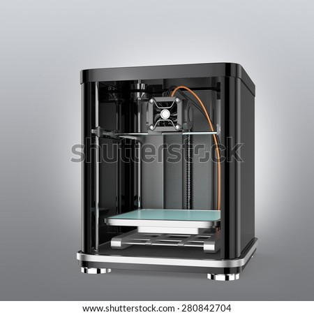 3D printer isolated on gray background. 3D rendering image with clipping path. - stock photo