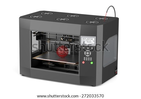 3d printer  isolated on white background - stock photo