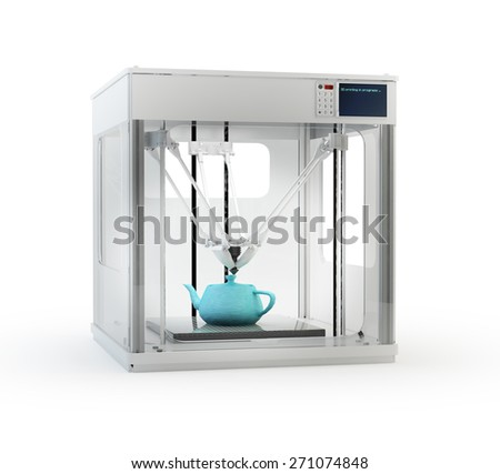 3D printer machine printing a teapot - rapid prototyping  - stock photo