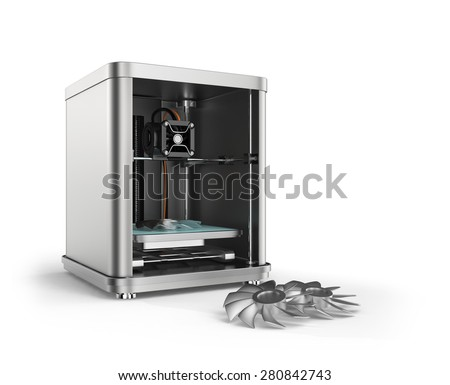 3D printer printing metal fan parts. Concept for 3D metal material print. Clipping path available.