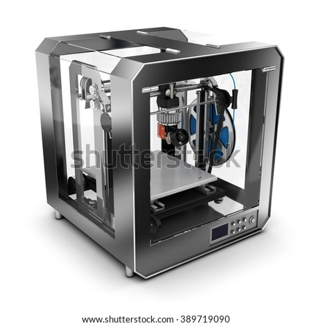 3D printer that prints plastic. Isolated on white. - stock photo