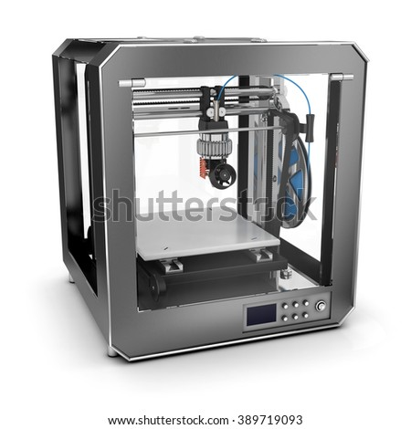 3D printer that prints plastic. Isolated on white.