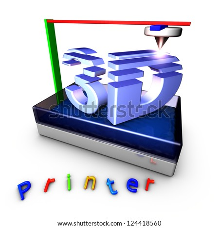 3D Printer using photopolymerization produces a solid object from a liquid. The three axes of the machine are represented by colors: Red, Green and Blue - stock photo