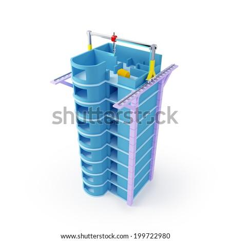 3d printing of skyscraper. Schematic 3d illustration. - stock photo