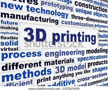 3d printing technical word clouds. New product making technologies background