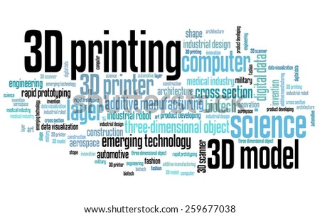 3D printing - technology concepts word cloud illustration. Word collage. - stock photo