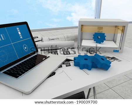 3d printing technology, printing gears - stock photo