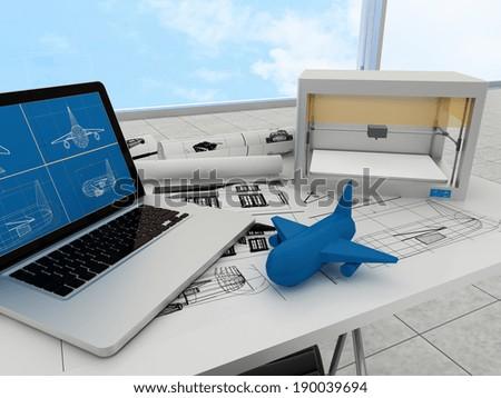 3d printing technology, printing plane - stock photo