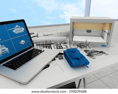 3d printing technology, printing tank - stock photo