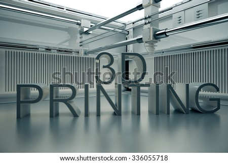 3D Printinted Three- Dimensional Word. - stock photo