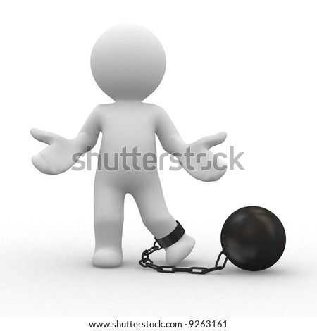 3d prisoner human with chain ball in food