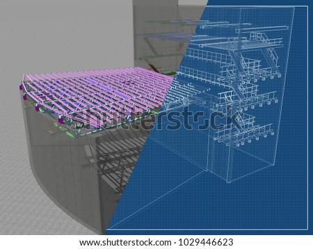 architectural engineering buildings. Modren Architectural 3D Project Of Reconstruction And Construction Buildings Made Metal  Structures Transparent Wall In Architectural Engineering Buildings