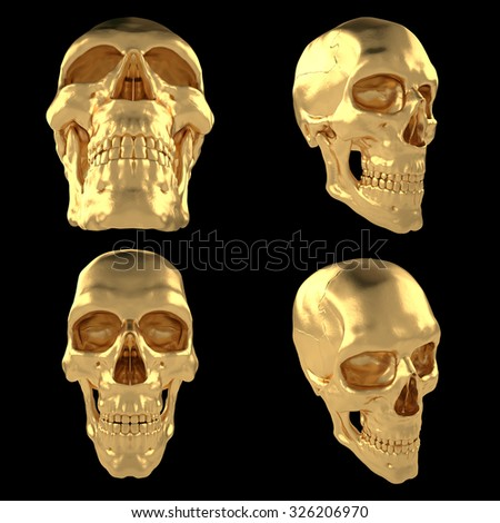 3D projected golden anatomic human scull isolated black - stock photo