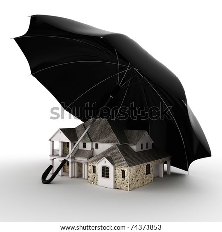 3d Property insurance concept - stock photo