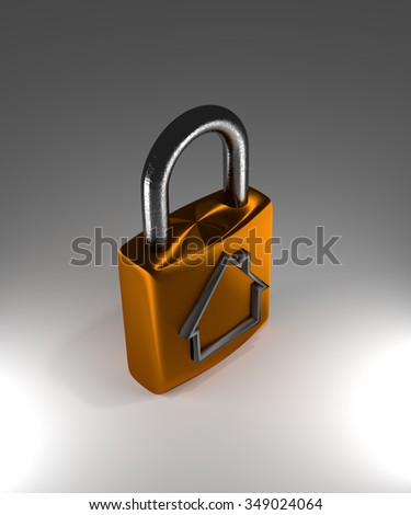 3d protection concept, padlock with house shape