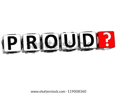 3D Proud Button Click Here Block Text over white background - stock photo
