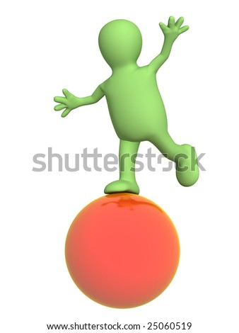 3d puppet, balancing on a red ball - stock photo