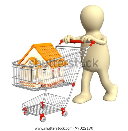 3d puppet - buyer, bought the house. Isolated over white - stock photo