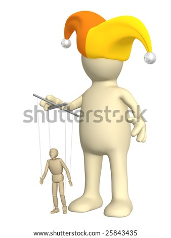 3d puppet-clown, managing a small doll - stock photo