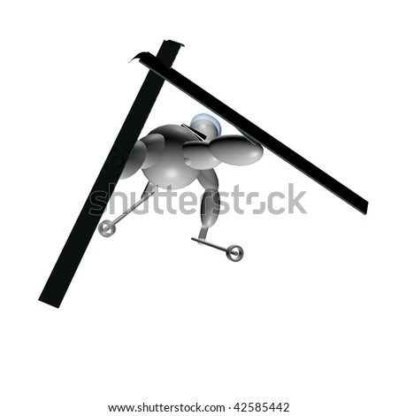 3D Puppet doing freestyle skiing over white background
